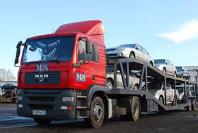 Легковые автомобили на автовозе